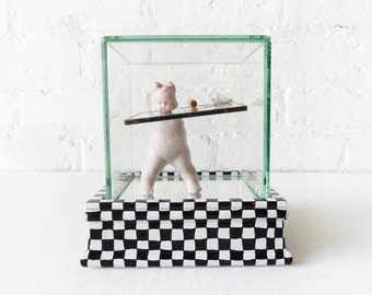 Alice Got Drank - Off With Her Head Doll In Beveled Glass Case - Painted Checkered Base - Mirrored Bottom - Looking Glass - Wonderland