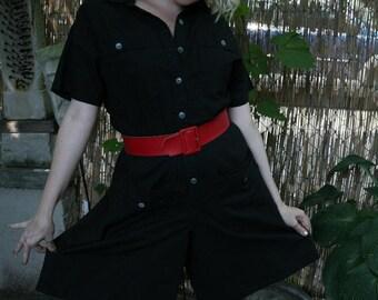 A Paquette Vintage 80s Romper in Black Cotton