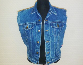 Vintage 1990's Cropped Denim Jacket with Cut-Off Sleeves by Espirit Women's Large