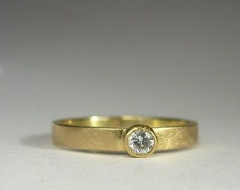 18K Gold Diamond Ring - Made To Order In Your Size -  Diamond Wedding Band - 18K Diamond Ring - Diamond Engagement Ring - Diamond Solitaire