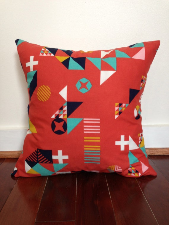 Organic Cotton Throw Pillow Inserts : Organic Cotton Throw Pillow Cover in Red Motif by ShopSugarsnap