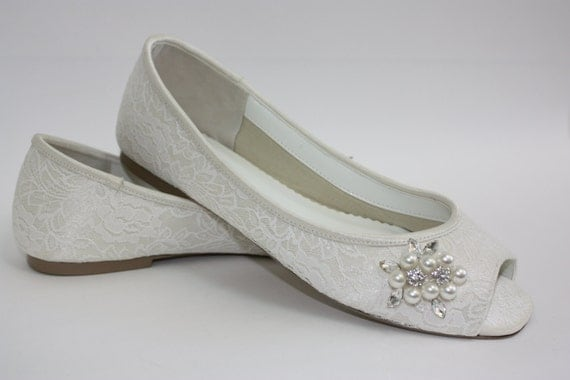 Items Similar To Wedding Shoes Lace Flats Lace Wedding Shoes Wedding Flats Peep Toe
