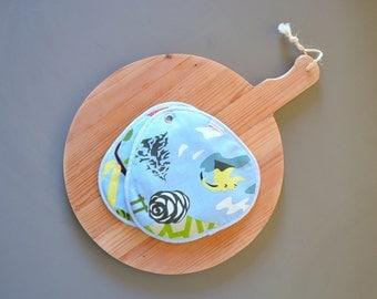 kitchen potholders - large potholders - thick potholders - blue pothoders - sturdy aqua fabric potholders - hostess gift - modern potholders