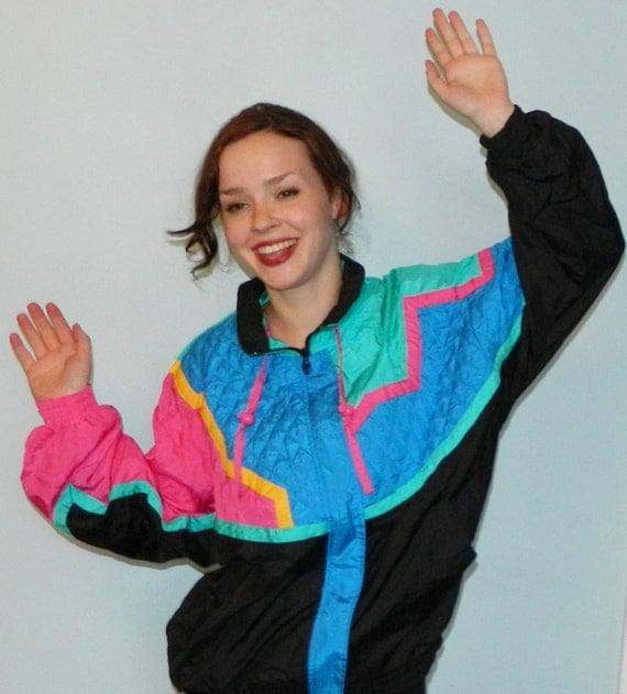 vintage 80s neon ski warm up jacket ugly 80s party