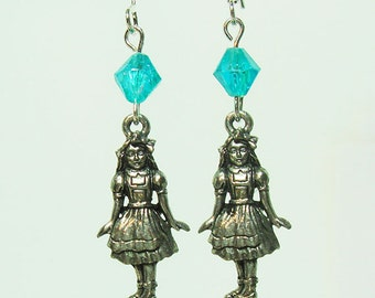 Silver Alice in Wonderland Earrings with Blue Crystals