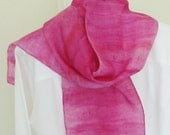 Hand painted pink silk scarf pink rose orange design 8x54 long scarf abstract striped scarf Canada made design
