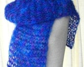 Ocean Blue ENGLISH MOHAIR Hand Knit Unisex SCARF / Baby Photo Prop