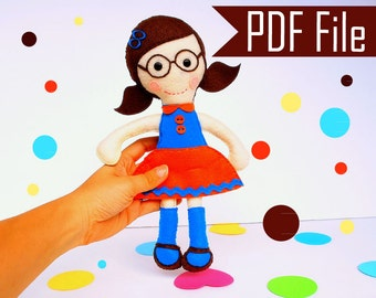 Soft Rag Doll PATTERN, Mary Rag Doll Sewing pattern, Instant Download, Plush, Softie, Rag Doll Pattern  Instant Download A800