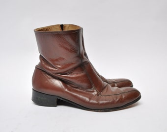vintage leather boots zip up beatle boots motorcycle ankle  size 10.5 EEE