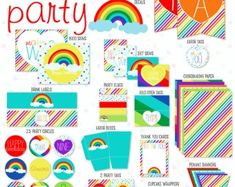 Rainbow Party PRINTABLE Custom Full Collection by Love The Day
