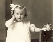 Adorable Hattie Won't Let Go of Her FAVORITE BROKEN DOLL In Photo Postcard Circa 1910
