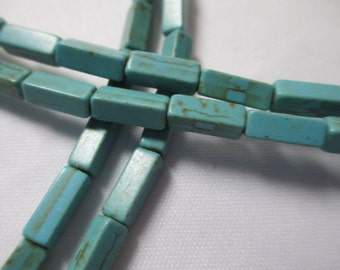 TURQUOISE BLUE RECTANGLE Cube 66 Beads Thick Howlite Magnesite - 4mm x 13mm -  Wholesale 2 Strands