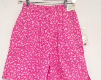 IZOD 80s Vintage Pink Shorts High Waisted Pleated Golf Tennis Deadstock Small Women NOS