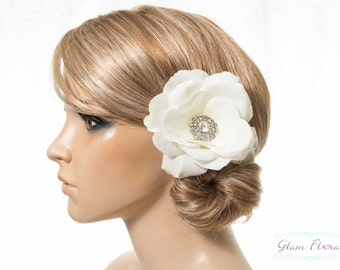 Natural White Real Touch Rose Hair Fascinator / Brooch/ Corsage with rhinestones. Destination Wedding.  yellow orange red green pink white