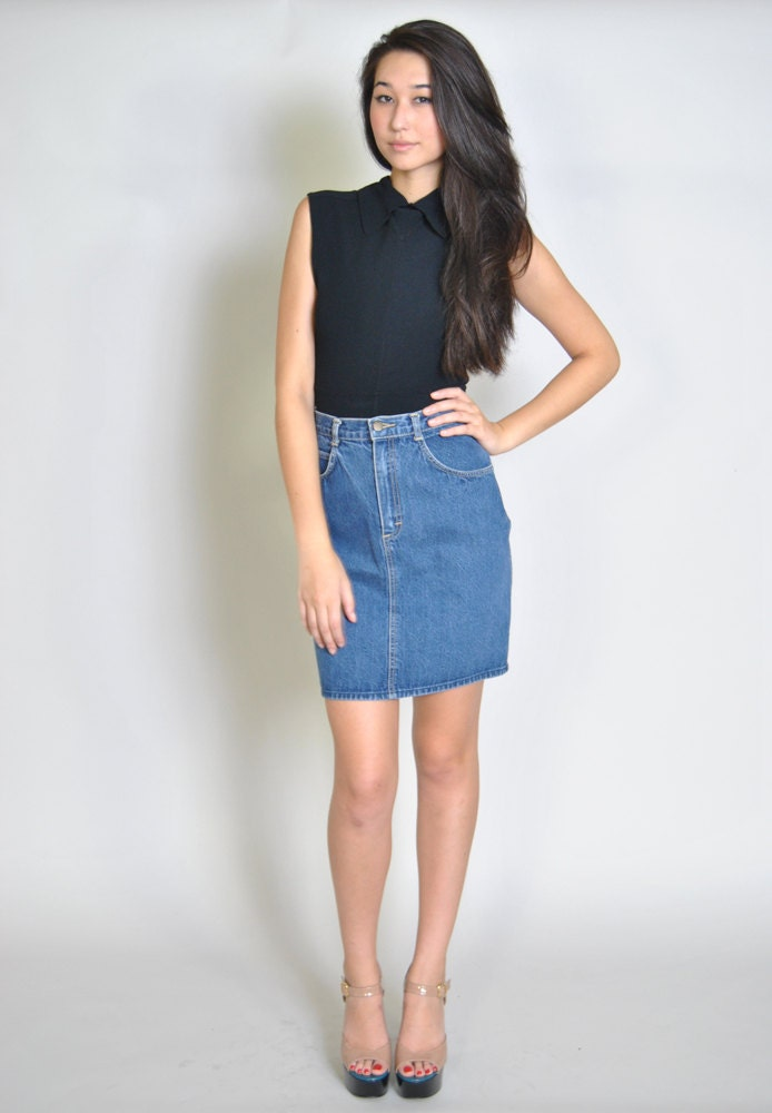 vintage denim skirt 80s high waisted fitted mini pencil skirt