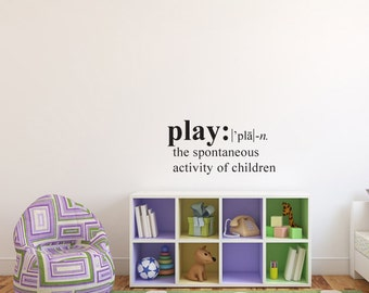 Wall Decals Wall Words Art Wall Stickers Vinyl Lettering -  Definition of Play