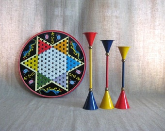 Three Retro Cool Candlesticks in Primary Colors / Mid Century Mod Candle Holders