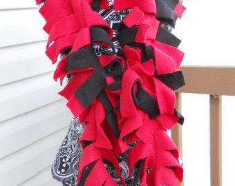Handmade Solid Red and Black Fleece Boa Scarf