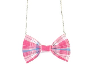 Pink Plaid Bow Tie Necklace, Women Bowtie, Pink White Bow Necklace