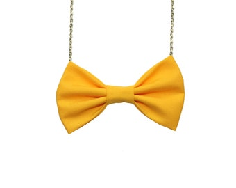 Sunflower yellow Bowtie Necklace , Sun flower Bow Tie, Women Bow Tie