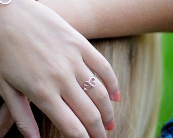 Hold Onto My Heart Infinity Ring in Sterling Silver or Yellow Gold Filled