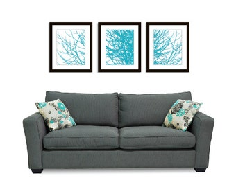 Winter Tree Branches Prints - Tree Branches Prints - Tree Triptych Wall Art 11x14 - Multi Panel Wall Art - Turquoise Blue Art - Modern Decor