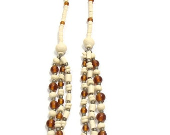 Vintage Ivory and Amber Beaded Necklace