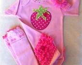 Girls Strawberry Shortcake Clothing, Baby Swarovski Headband and Leg-warmer Outfit, Etsy Kids, Custom Boutique Clothes, Baby Bling, Bodysuit