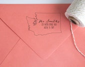 Return Address Wood Handle Rubber Stamp State Shaped Address Stamp with Scripted Font (all 49 states available)