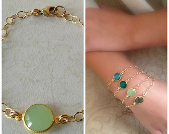 22k Vermeil Green Chalcedony Bezel Set, Framed Bracelet with Gold Filled Chain-statement bracelet