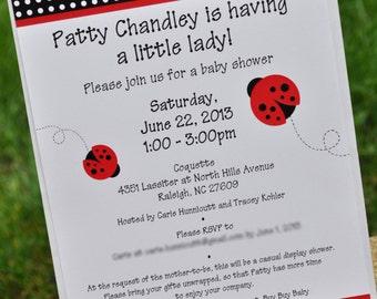 Ladybug Invitations - Baby Shower or Birthday - Ladybug Personalized Party Decorations - Set of 12