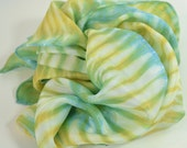 Hand Dyed Silk Scarf, In Greens, Blues, Yellows and White