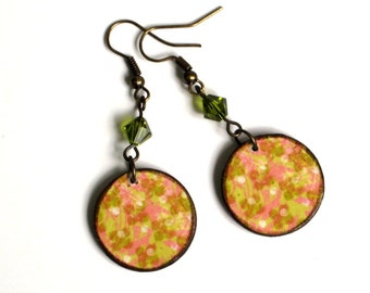 Decoupaged Earrings Circle Dangle Yellow Olive Green Crystal Lightweight Gifts for Her Stocking Stuffer