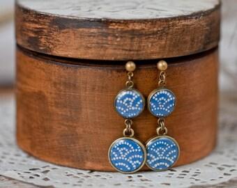 Dangle earrings - Sashiko