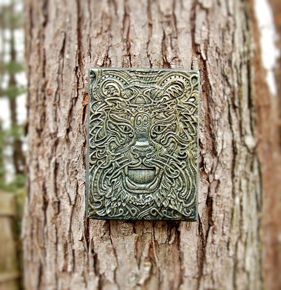 Celtic Tiger Sculpture, Celtic Knot Art, Rustic Outdoor Stone Art Sculpture, Irish Home Decor Ireland Wall Art