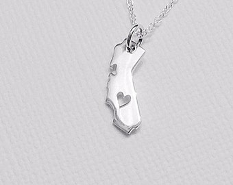 Tiny California or Texas State Charm Necklace with Heart Cutout Sterling Silver