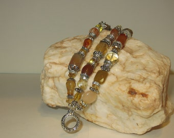 Tequila Sunrise Triple Strand Bracelet Quartz with Carnelian Citrine Crystal Agate and Silver Tone Findings