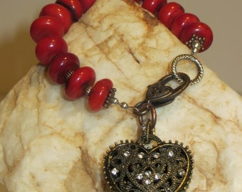Red, Red Coral Charm Bracelet
