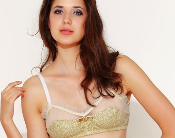 SAMPLE SALE, AURELIA Gold Sparkle sequins soft cup Bra, Gold sleepwear Lingerie, holidays gift