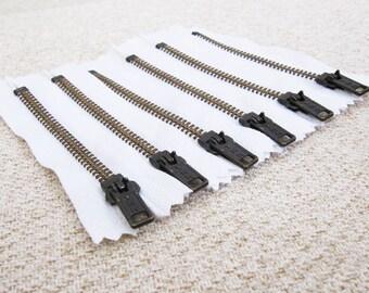 4inch - White Metal Zipper - Brass Teeth - 6pcs