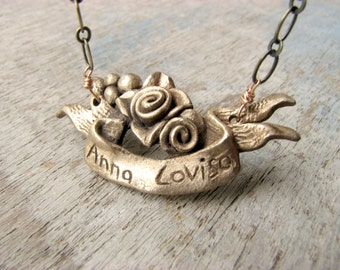 Roses custom banner necklace