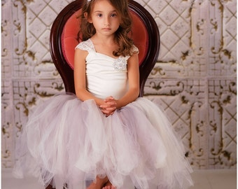 Flower Girl Dress--Tulle Skirt--Lace Corset Top--Perfect for Weddings--Many Colors to Choose from