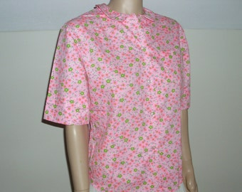 pink blouse Peter Pan collar top button down roll sleeve