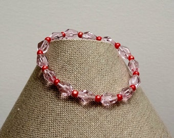 Fun Flirty Ice Pink Bead Bracelet. Gift For Her. Gift For Teen. Gift Under 15. Pretty Accessory