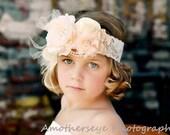 Vintage style peach ivory silk satin lace headband,netting,peach ivory headband-newborn, Great Gatsby ,photo prop-flower girl-bridal