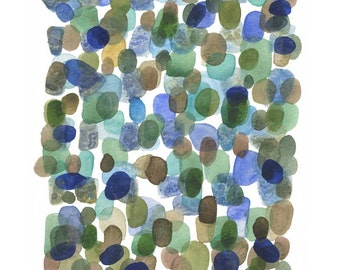 North Sea, watercolor painting green blue, abstract painting watercolor print