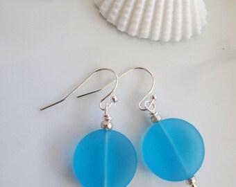 Blue Sea Glass Jewelry Set, Sterling Silver Starfish Charm, Beach Jewelry, Ocean Blue Sea Glass, Summer Jewelry, Bridesmaids Gift
