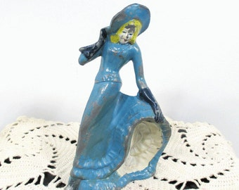 Vintage Metal Dancing Woman Figurine - Blue Dress