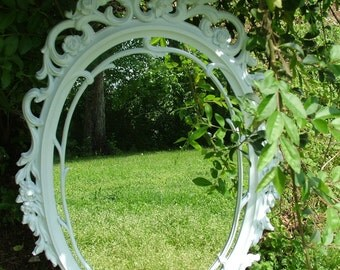 Reserved, Ornate White Wall Mirrror,Size  29 x 18 OR CHOOSE COLOR,Nursery Mirror,Accent Mirror,Hollywood Regency Mirror