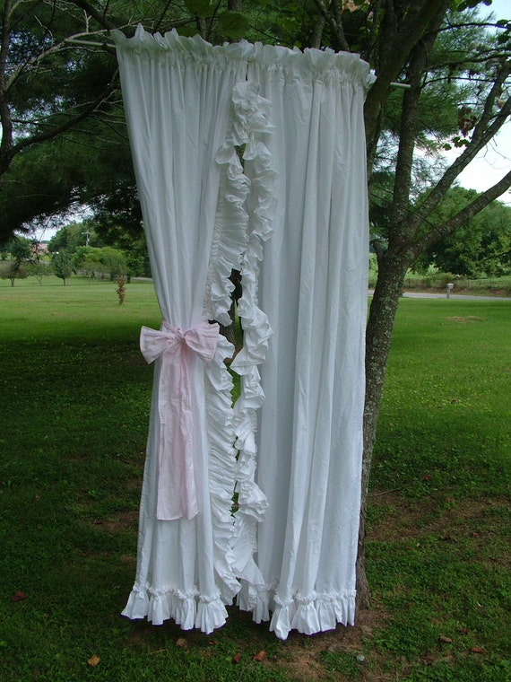 Items Similar To Shabby Chic White Ruffle Curtains Vintage Curtains Use In The Nusery